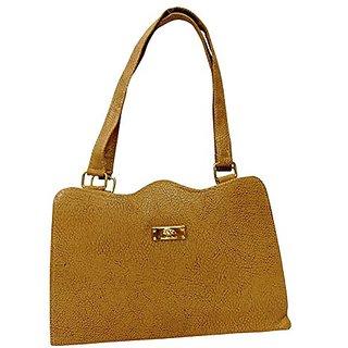 Bagizaa Khaki PU Handbag For Women With Zip Closure ,Fixed Strap