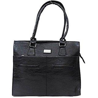 Bagizaa Black PU Handbag For Women With Zip Closure ,Fixed Strap