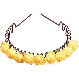 Style Tweak Yellow Floral Tiara Hairband
