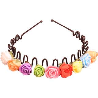 Style Tweak Multicolor Floral Tiara Hairband
