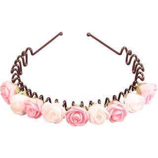 Style Tweak Pink Floral Tiara Hairband