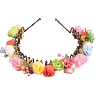 Style Tweak Multicolor Designer Floral Tiara Hairband