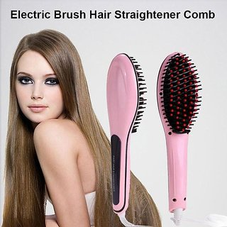 0-Degree Tuzech Easy Hair Straightener Comb With Temperature Setting ( Best in Class) Girlish PINK
