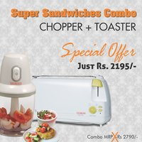 Combo Of Mini Chopper / Mixer + Auto Pop Up Toaster - By Clearline