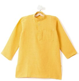 Pikaboo Plain Yellow Kids Kurta for Boys