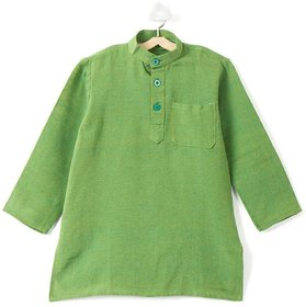 Pikaboo Plain Green Kids Kurta for Boys