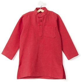Pikaboo Plain Red Kids kurta for Boys