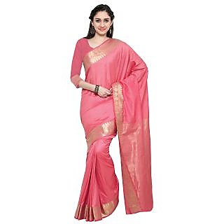 Vastrani Women's Chanderi Cotton Pink Brocade Party Wear Saree