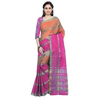 Vastrani Women's Cotton Silk Peach,Pink Lining Party Wear Saree