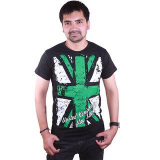 SAT Classic England Green Flag Printed Half Sleeve Round Neck  Black T-shirt