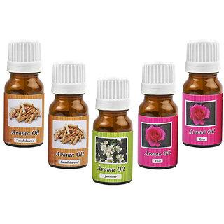 Aroma Oil Set of 5pcs of 10ml Each - Rose Jasmine Sandalwood