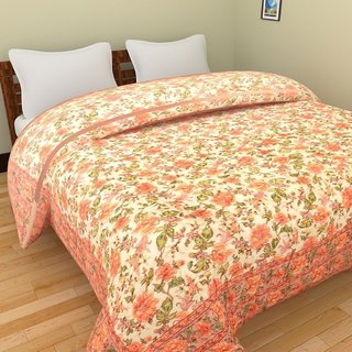 Rubsnetix Jaipuri World Famous Light weight Pure Cotton Floral Print Pink Colour Reversible Double Bed Quilt /Rajai / Ra