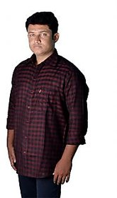 SCUBE Cotton Casual Dark Red Checked Slim Fit Shirt