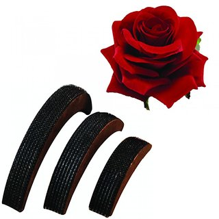 Combo of Hair Puff Bumpits (Set of 3) and Red Rose Flower Hair Clip