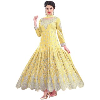 Florence Yellow Raja Tex Georgette Embroidered Suit(SB-2635) (Unstitched)