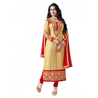 Florence Yellow PARI RAJA TEX Georgette Embroidered Suit(SB-2647) (Unstitched)