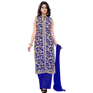 Florence Blue Georgette Embroidered Suit(SB-2723) (Unstitched)