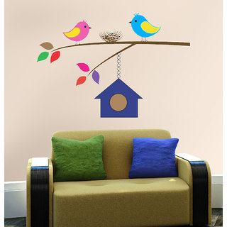 New Way Decals-Wall Sticker (4607) ''Colourful Sparrows And Its Home''