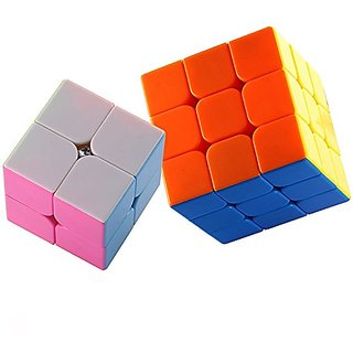 Dreampark 2 Pack Stickerless Magic Cube Puzzles - 2x2x2 Speed Cube, 3x3x3 Smooth Speed Cube Colorful