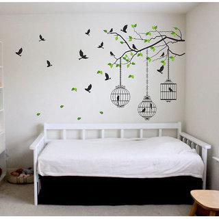 New Way Multicolor Vinyl Freedom Of Caged Birds Wall Sticker