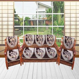 AS Beautiful Leaves Design Brown Sofa Cover (set of 10 )