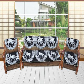 AS Decorative Black Leaves Design Sofa covers (set of 10 )