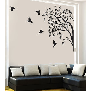 New way Vinyl Black Floral (9676) Decals Wall Sticker