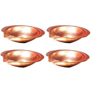 5 cm Pure Copper Diya - Set of 4