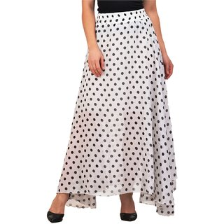 6bfd1fce4a6 Buy Raabta Fashion White with Black Polka dot Print Flared Long Skirt  Online - Get 57% Off