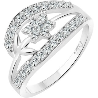 Vighnaharta Flory Gift CZ  Rhodium Plated Alloy Finger Ring for Women and Girls