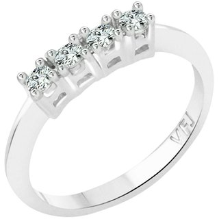 Vighnaharta Four Stone Diamond CZ  Rhodium Plated Alloy Finger Ring for Women and Girls