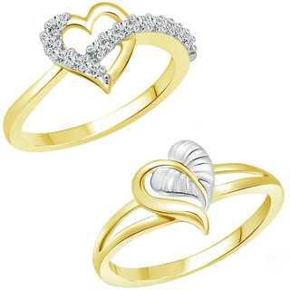 Vighnaharta Valentine's Bash CZ Gold and Rhodium Plated Alloy Finger Ring set for Women and Girls