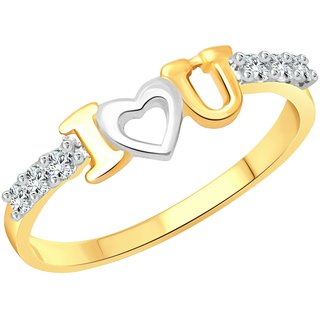 Vighnaharta I Love U CZ Gold and Rhodium Plated Alloy Ring for Women and Girls