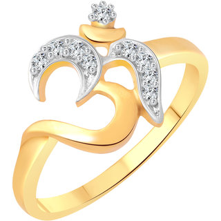 Vighnaharta Manokaya Om CZ Gold and Rhodium Plated Alloy Ring for Women and Girls