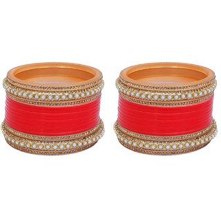 Lucky Jewellery Red Bridal White Pearl & Golden Stone Chura Wedding Punjabi Chuda Designer Choora Set