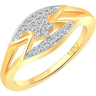 Vighnaharta Golden Finger Look CZ Gold and Rhodium Plated Alloy Finger Ring for Women and Girls