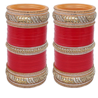 Lucky Jewellery Red Bridal Golden & White Stone Chura Designer Fashion Choora Punjabi Wedding Chuda Set