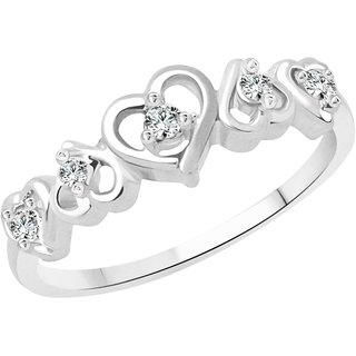 Vighnaharta Dancing Heart CZ  Rhodium Plated Alloy Ring for Women and Girls