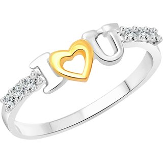 Vighnaharta I Love U Emotion CZ  Rhodium Plated Alloy Ring for Women and Girls