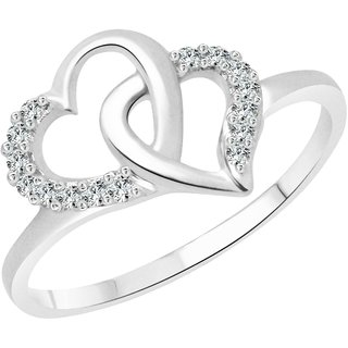 Vighnaharta Silvo Dual Heart CZ  Rhodium Plated Alloy Ring for Women and Girls