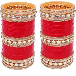 Lucky Jewellery Red Designer White Kundan & Golden Stone Bridal Chuda Fashion Punjabi Choora Wedding Chura Set