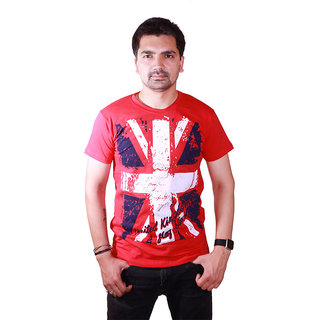 SAT Classic England White Flag Printed Half Sleeve Round Neck  Red T-shirt