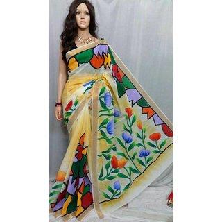 kerala cotton handpaint sarees for women