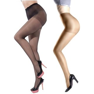 Tahiro BlackNBeige Cotton Micro Fiber Full Length Stocking Pantyhose - Pack Of 2
