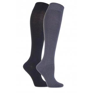 Tahiro Black N Grey Cotton Full Length Socks - Pack Of 2