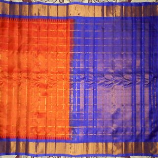 Devi Orange Silk Checks Saree With Blouse