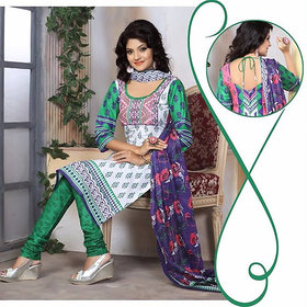 Urishilla Summer Special Pure Cotton White and Green Printed Suit (Unstitched)