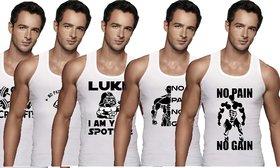 Masculine Men's White Printed Vests Pack Of 5 For Men