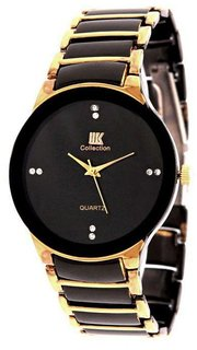 TRUE CHOICE NEW BRAND Iik Stylish Golden Black Stainless Steel Analog Watch for Men's IIK GOLD BLACK
