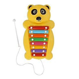 Aarushi Pull and tune Yellow Plastic Panda Xylophone Kids Musical Toy 37 cm
